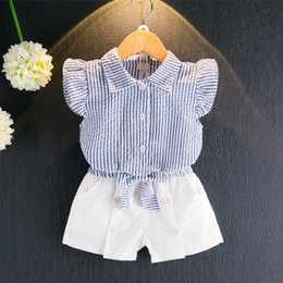 Wholesale Wholesale White Button Down Shirts - 2018 New Children Fashion Set Baby Girls Sleeveless Striped Shirt Button Down+ White Short Pants Cotton Blending Breathable Clothing Sets