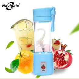 Wholesale Electric Juicers - Navigate 380ML Portable USB Electric Juicer Water Bottle Creative Rechargeable Juice Fruit Infuser Plastic Drink Bottle with Lid