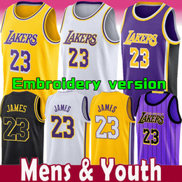 d86f07e62 2018-2019 New Season Men Youth Kids 23 LeBron James Embroidered Jersey Los  Angeles Lakers 24 Kobe Bryant Yellow City version Basketball Wear