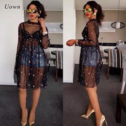 Abito nero vedere attraverso le linee online-Black Sheer Mesh Dress Women Autumn 2017 Ricamo floreale Manica lunga Lunghezza ginocchio Una linea Dress Sexy Vedere attraverso Clubwear