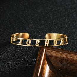 f8505f59a9f1 2019 pulsera de barra personalizada Nombre hueco Brazalete 7.5 mm Ancho  Barra hueca Pulsera Nombre personalizado