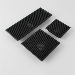 Drenagem do piso quadrado on-line-Preto SUS 304 Aço Inoxidável Dreno Do Chuveiro Do Banheiro Piso de Dreno de Telha Inserir Quadrado Anti-odor Waste Grelhas 110-300 MM