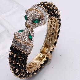 Wholesale bracelet animal leopard - Bella Fashion Black Panther Leopard Kiss Bangles & Bracelets Austrian Crystal Rhinestone Animal Bangle Cuff For Party Jewelry
