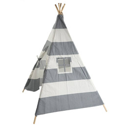 Wholesale play playhouse - Canvas Teepee Canopy Tent Playhouse Kids toy teepee tent Play room Indoor outdoor Portable Kids Playhouse Sleeping Dome Teepee Tent US stock