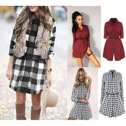 Wholesale Womens Red Plaid Dress - New Womens Ladies Long Sleeve Plaid Printed Loose Casual Mini Party Top Shirt Dress Size S-XL