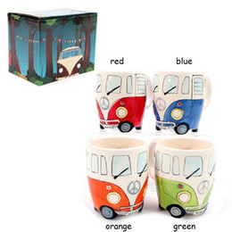 Wholesale Ceramic Bone China Mugs - Free Shipping F1 Camper Van Adventures! Retro Car Mug Ceramic Hippie Coffee Mug with Gift Box GBN-039