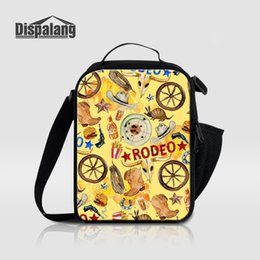 Wholesale Cool Canvas Paintings - Dispalang Insulated Lunch Bag For Women Kid Cartoon Painting Lunchbox Thermal Canvas Bolsa Termica RODEO Print Lunch Cooler Bags