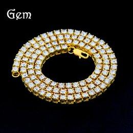 Wholesale Single China Plates - Men's hip hop 1 row alloy necklace full diamond single row necklace popular accessories