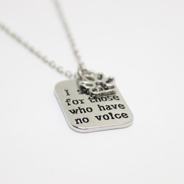 "Wholesale Hand Stamped - 12pcs lot hand stamped Necklace I speak for those who have no voice""pendant Necklace, paw print charm necklace dog lover jewelry"
