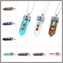 Wholesale plastic heart pendant necklace - Fasinating 13 Styles 15*53mm Sword Shaped Plated Necklace Healing Pendants Energy Banlance Chockers Chakra Crystal Jewelry as Gifts