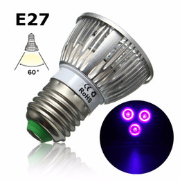 Wholesale Led Spotlights Purple - 3W LED Grow Light E27 B22 GU10 UV Ultraviolet Purple LED Spotlight Bulb Plant Lamp Greenhouse Hydroponics System AC85-265V