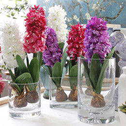 Ceramiche piante artificiali online-Artificiale fiore giacinto con bulbi di ceramica fiore di seta simulazione foglia matrimonio giardino arredamento casa tavolo accessorie pianta 1 pz