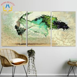 Wholesale triptych painting abstract - 3pc set DIY oil painting by numbers triptych decorative painting calligraphy abstract coloring by number acrylic picture SL002