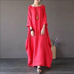 1dd4dd7dccc0 abiti di lino lunghi da donna Sconti Loose Maxi Dress Ladies Vintage in lino  di cotone