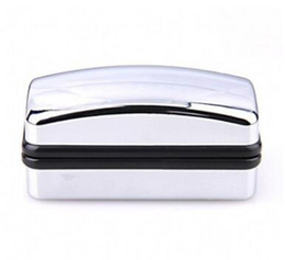accessories chrome Promo Codes - Silver Polished Chrome Satin Cufflink Boxes Wedding Gift Men's Accessory Storage cases