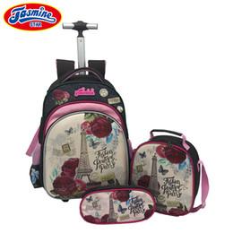 Wholesale Luggage Kids - JASMINESTAR 3PCS Trolley School Bags Girl Laptop Backpacks Kids Satchel Luggage Large Capacity Wheeled School Bags For Girls