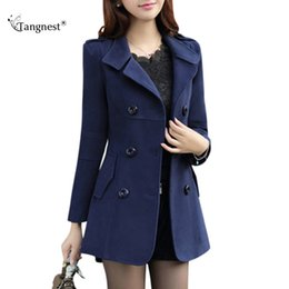Wholesale Long Women Pea Coats - TANGNEST Women Trench 2017 New Plus Size M-3XL Women Jacket Ladies Pea Coat Slim Double Breasted Blended Coats WWN717