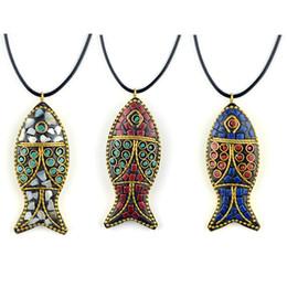 Colar de peixe vintage on-line-Bonita colares moda evade peixe étnica colar, pedras vintage placa Nepal jóias, handmade sanwoods vintage bodhi pingentes colar