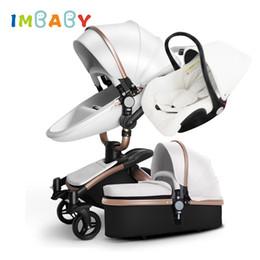 Kinderwagen online-IMBABY Luxus Kinderwagen 3 in 1 Babywiege Kinderwagen Mit Autositz Wagen Riesenrad Für Schnee Für 0-36 Monate Kinder