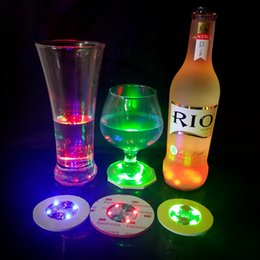 Wholesale Super Flash Lights - Super bright 3mm 4LED Flashing Lights Bulb Bottle Cup Mat Coaster LED glorifier mini glow stick For Clubs Bars Party