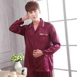 e16388a20e faux silk men sleepwear mens pajamas Men s Sleep   Lounge male Pajama Sets  satin men pyjamas nightgown chinese silk pajamas
