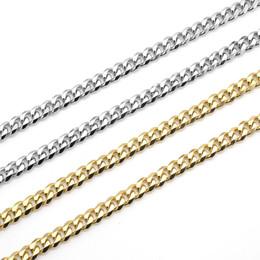 2019 versilberter figaro USENSET Halskette kubanische Gliederkette Edelstahl 18K Gold plattiert Ton Punk Schmuck Armband Halskette (3 5 7mm24