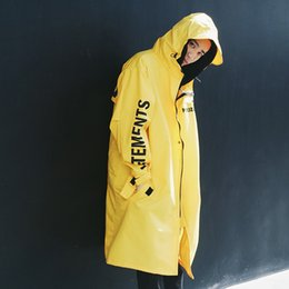 Wholesale Hooded Trench Men - Fashion Vetements Polizei Man Jackets Hooded White Rain Coat Waterproof Sun Protection Trench Casual Hi-Street Jackets Brand Men Clothing