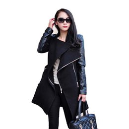 Wholesale Wool Coat Leather Sleeves Women - Wholesale- Autumn Winter Style Women Fashion Coat Long Sleeve PU Leather Patchwork Wool Overcoat Casual Zipper Jacket Coat WDC250