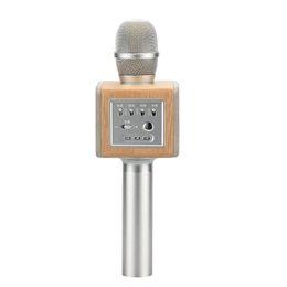 Wholesale Chip Speaker - 2pcs Original brand MicGeek ELF-JL Wireless Karaoke Microphone 2.1 Sound Track Natural Rosewood DSP Chip Voice Speakers Smartphone