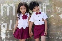 Wholesale wholesale white uniform shirts - Children Cute Cotton Korean Japanese Student School Uniform for Girls Boys Kid Collar Shirt Top Pleated Skirt Shorts Tie Clothes