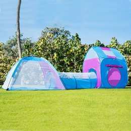 Wholesale Kids Pop Up Play - Kids Pop Up Play Tent With Tunnel 3-in-1 Playhut Indoor Outdoor Fun Ball Pit for Children