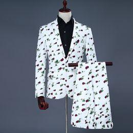 Trajes de animales rojos online-Traje clásico para hombre Red Rose Print trajes para hombre para hombre trajes de desgaste de la etapa De Luxe Pour Homme con estilo Blazers traje Homme