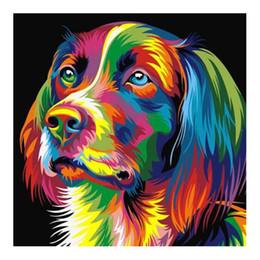 Dipingere mosaici online-New Cool Colorful Dog Head 5D trapano quadrato Diamante vernice Ricamo modello Kit punto croce adesivi Mosaic Decor