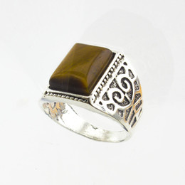 Wholesale Thailand Fashion Rings - Wholesale- New Trendy Thailand Origin Gentleman Tiger Eyes Stone Ring Size:8-11 Fashion Jewelry Quartz Gems Stone Finger Ring