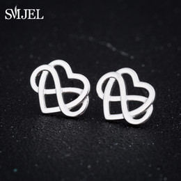 Wholesale tiny love wholesale - SMJEL New Irish Knot Jewelry Tiny Forever Inifinite Knot Cross Love Heart Charm Earrings Women Brincos Gifts Best Friend ED249