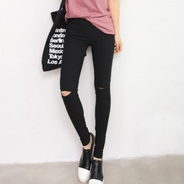 Wholesale jeans for women wholesale - 2017 Cotton High Elastic Imitate Hole Jeans Women Knee Skinny Pencil Pants Slim Ripped Jeans For Women Black Ripped S-XL