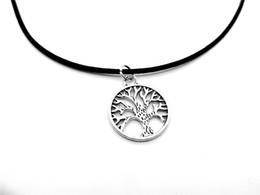 Chance d'arbre en Ligne-1pc-ronde arbre de vie amulette collier vie arbre généalogique bonne chance collier chakra paume prata longévité arbre feuille cuir corde colliers