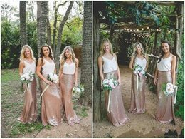 Wholesale new forest - 2018 Country Forest Two Pieces Sequined Bridesmaid Dresses New Design Cheap V Neck Floor Length Sheath Maid Of Honor Dresses BA9532