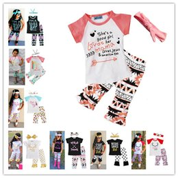 Wholesale Three Piece Suit Styles - 2018 Girls Baby Childrens Clothing Set Letter Tshirts Pants Headbands 3Pcs Set Fashion Summer Girl Kids Tees Tops Suit Boutique Clothes Suit