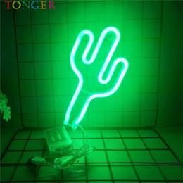 Luz de néon arte on-line-TONGER Home Decor Cactus LEVOU Arte placa de Sinal de Néon Decoração Da Parede de Luz Neon Barato luzes de parede Verde