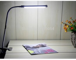 Wholesale Glass Wedges - Black Clear Glass 2015 Hot Sale DC Table Lamp Led Clip Light Desk Bedside Eye Piano 6w Bulbs table light