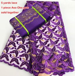 Wholesale nylon fabric yard - 5 yards Classic purple gold french lace African tulle lace fabric mesh lace with Aso Oke gele headtie used for party occasions