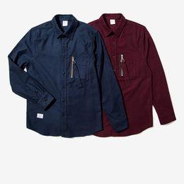 930d62f0487 Newest Mens Casual Shirts Japan Style Zipper Pocket Long Sleeve Shirts 2017  Hip hop Wine Red Dark Bule Streetwear Shirt M-XXL