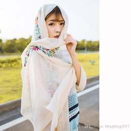 Wholesale Womens Purple Scarves - Fashion Embroidery Flower Silk Scarf Winter Shawl New Brand Scarves Ladies Seaside Sunscreen Scarf for Womens