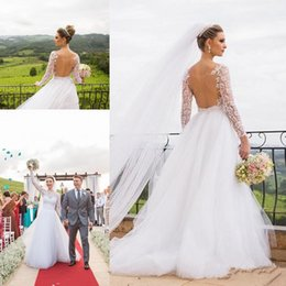 96f9312f79 fairy princess wedding dresses Coupons - Sheer Back Wedding Dresses With  Long Sleeve 2018 Modest Lace
