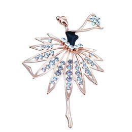 Wholesale Wholesale Ballerina Charms - Beautiful Girls Fashion Trendy Charming Princess Ballerina Brooch Crystal Rhinestone Brooches Pins Dress Decoration Jewelry Gift