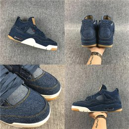 Wholesale White Cotton Voile Fabric - New Products 4 IV NRG Jeans DENIM DENIM-SAIL-GAME RED VOILE ROUGE JEU AO2571-401 Flight basketbol sneakers men Basketball shoes
