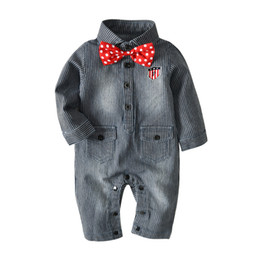 a2490a9296b0 Little boys stripes jeans romper toddler kids lapel polka dots Bows tie  denim jumpsuits baby double pocket long sleeve cowboy overall Y6059