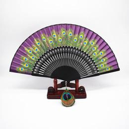 2019 abanico de baile de plumas de pavo real Ventilador de pavo real de alta calidad de seda de pavo real plegado ventilador de bolsillo Handcraft Wedding Party Favors Feather Dance Fan + envío gratuito rebajas abanico de baile de plumas de pavo real