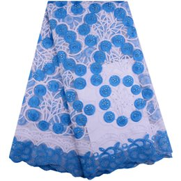Chiffon francês do laço on-line-New sky-blue African lace fabric Nigerian milk tulle lace Stone chiffon French lace A1396